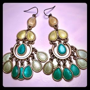 Premier Designs Green Chandelier Earrings GUC